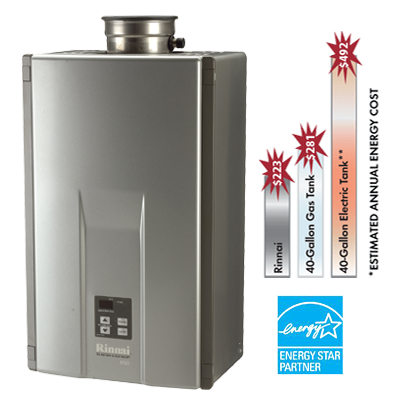 rinnai tankless water heater savings